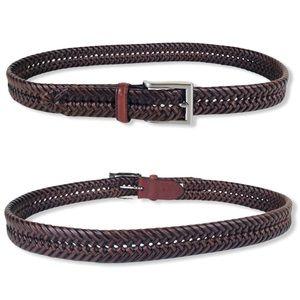 Men's CKE Brown Genuine Leather Braided Belt 32